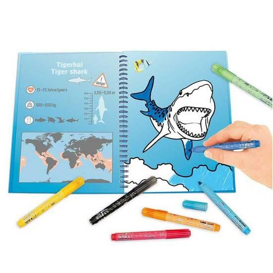 Depeche Fargebook/Aktivitetsbok med tusjer ‑ Hai  fra Skolehuset.no