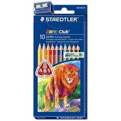 Staedtler Noris Club 10 Jumbo fargeblyanter med blyantspisser