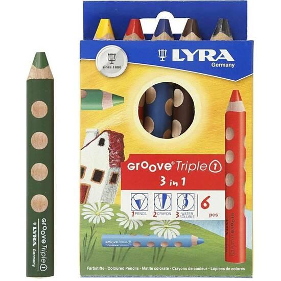 Lyra Groove Store Fargeblyanter ‑ Sett med 6 stk fra Skolehuset.no