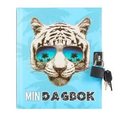 Tinka Dagbok med hengelås ‑ Blåmed kul tiger