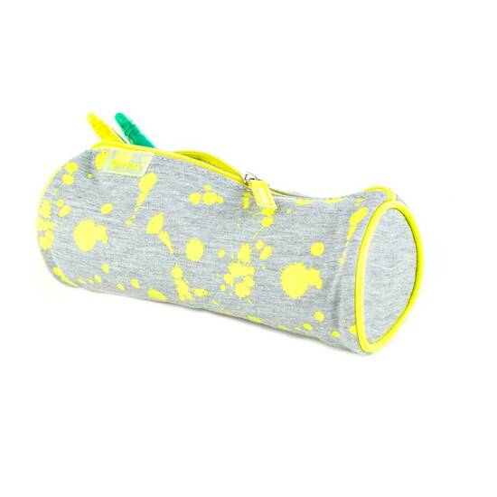 Viquel ‑ Posepennal ‑ Grått med neon gule malingsflekker   fra Skolehuset.no